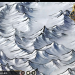 Another zoomed in look at snowy mountains.